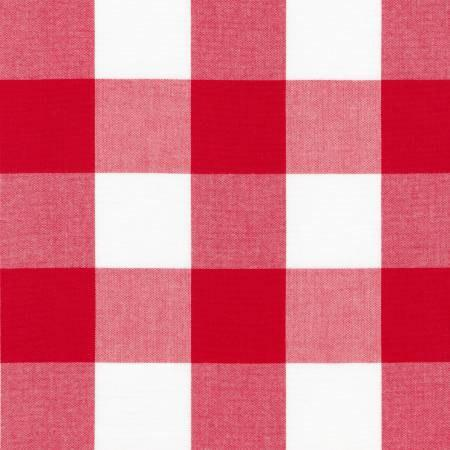 Red and White 2 Inch Plaid Checked Gingham, Robert Kaufman Carolina Gingham, 1 Yard - Raspberry Creek Fabrics