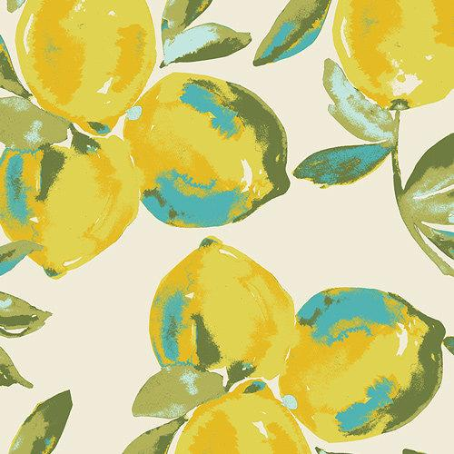 Yellow Green Blue and Cream Lemon Fabric, Sage By Bari J Art Gallery Fabrics, Yuma Lemons in Mist, 1 Yard Jersey Knit