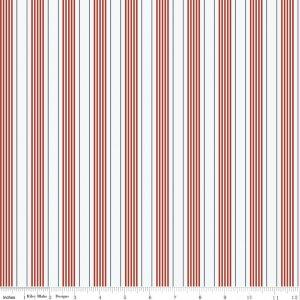 Red White and Navy Stripe Fabric, By the Sea By Dani Mogstad for My Minds Eye Riley Blake, Sea Stripe in Red, 1 Yard - Raspberry Creek Fabrics