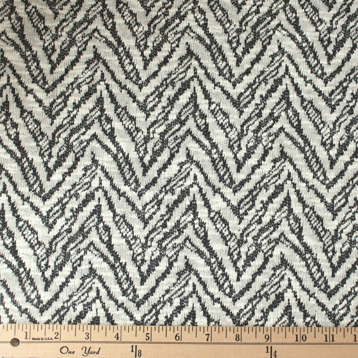 Cream and Charcoal Grey Abstract Chevron Closed Weave Sweater Knit Fabric, 1 Yard - Raspberry Creek Fabrics