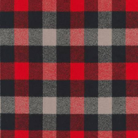 Red Black and Grey Robert Kaufman Mammoth Plaid Flannel, 1 Yard