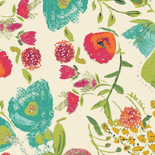 Cream Magenta Teal and Green Floral Rayon Challis, Abloom Fusion by Art Gallery, 1 yard