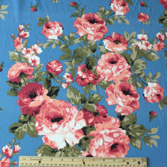 Blue Burgundy and Peach Floral Double Brushed Poly Spandex Knit, 1 yard