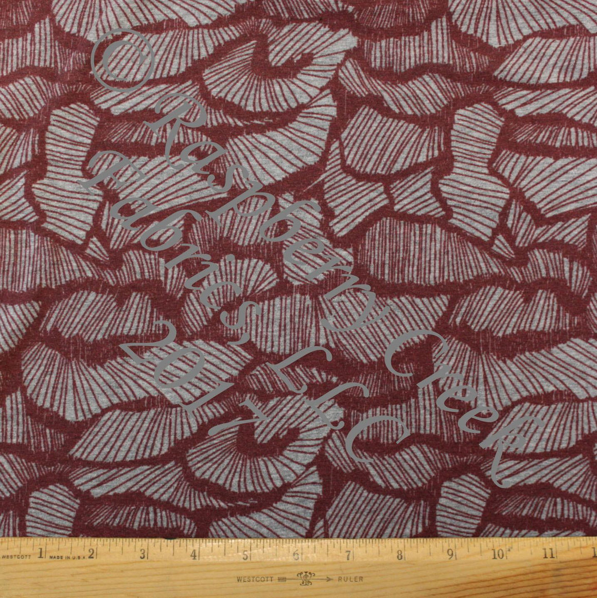 Burgundy and Heathered Grey Geometric Abstract Rock Print 4 Way Stretch Jersey Knit Fabric, For The Boys for Club Fabrics