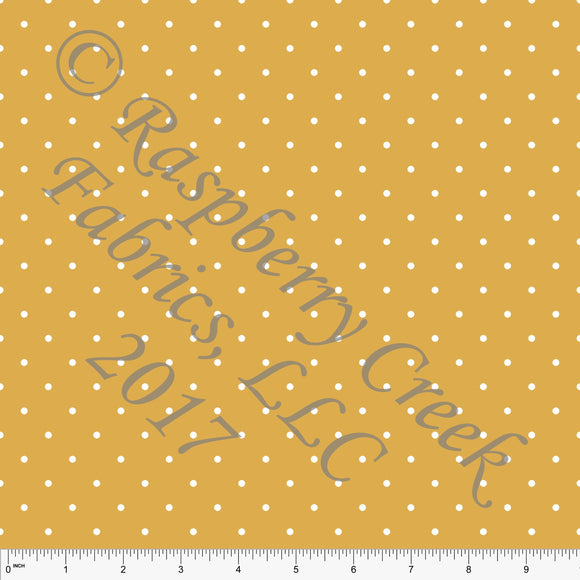 Mustard and White Pin Polka Dot Print, Club Fabrics - Raspberry Creek Fabrics