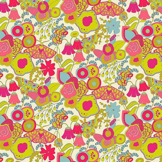 Fuchsia Pink Lime Green Ivory and Blue Retro Floral Cotton Lawn, Adorn by Alison Glass, 1 yard