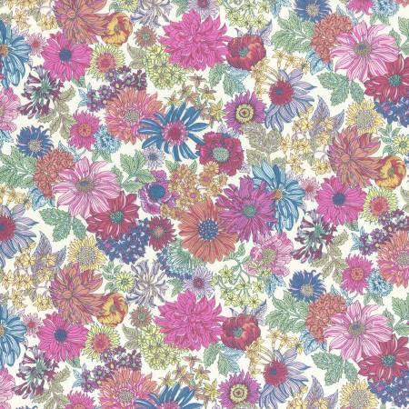 Pink Magenta Blue and Yellow Floral Cotton Lawn, Memoire a Paris Basic 2017 Collection From Lecien Japan, 1 yard