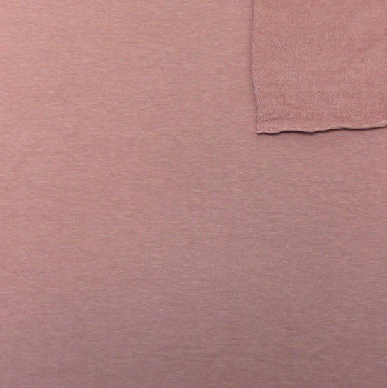 Solid Blush Mauve 4 Way Stretch French Terry Knit Fabric With Spandex, 1 Yard