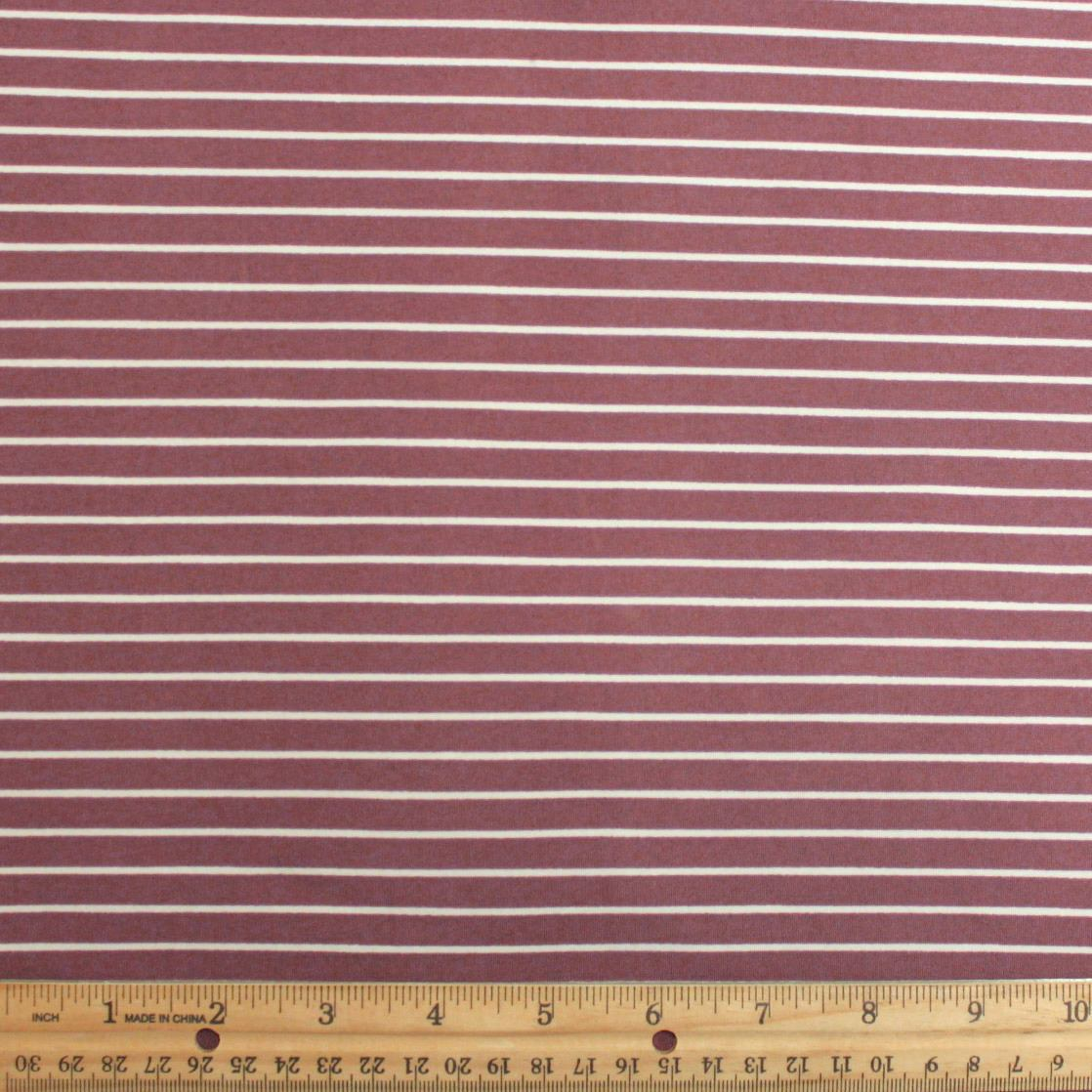 Dark Mauve Light Burgundy and Off White Stripe Double Brushed Poly Spandex Knit, 1 yard