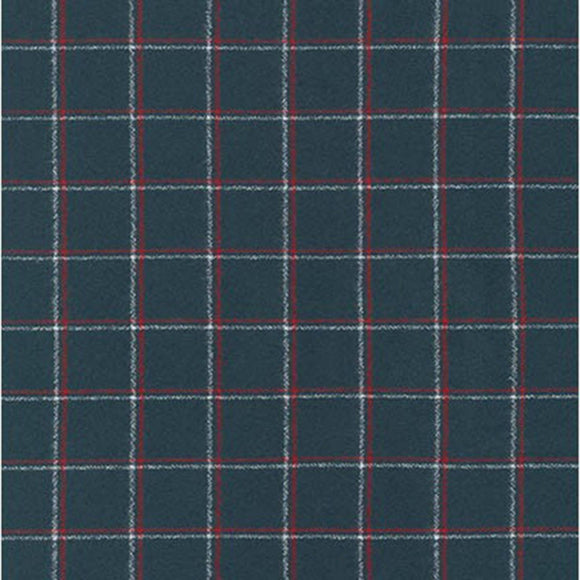 Deep Navy Red and White Steel Plaid Robert Kaufman Mammoth Plaid Flannel, 1 Yard - Raspberry Creek Fabrics