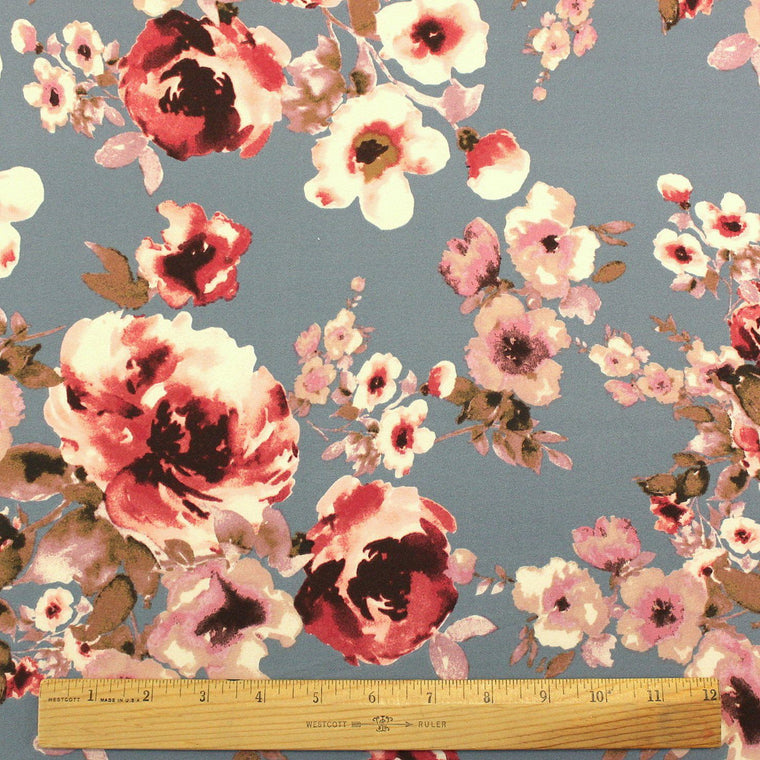 Dusty Blue Burgundy and Blush Floral Double Brushed Poly Spandex Knit, 1 yard