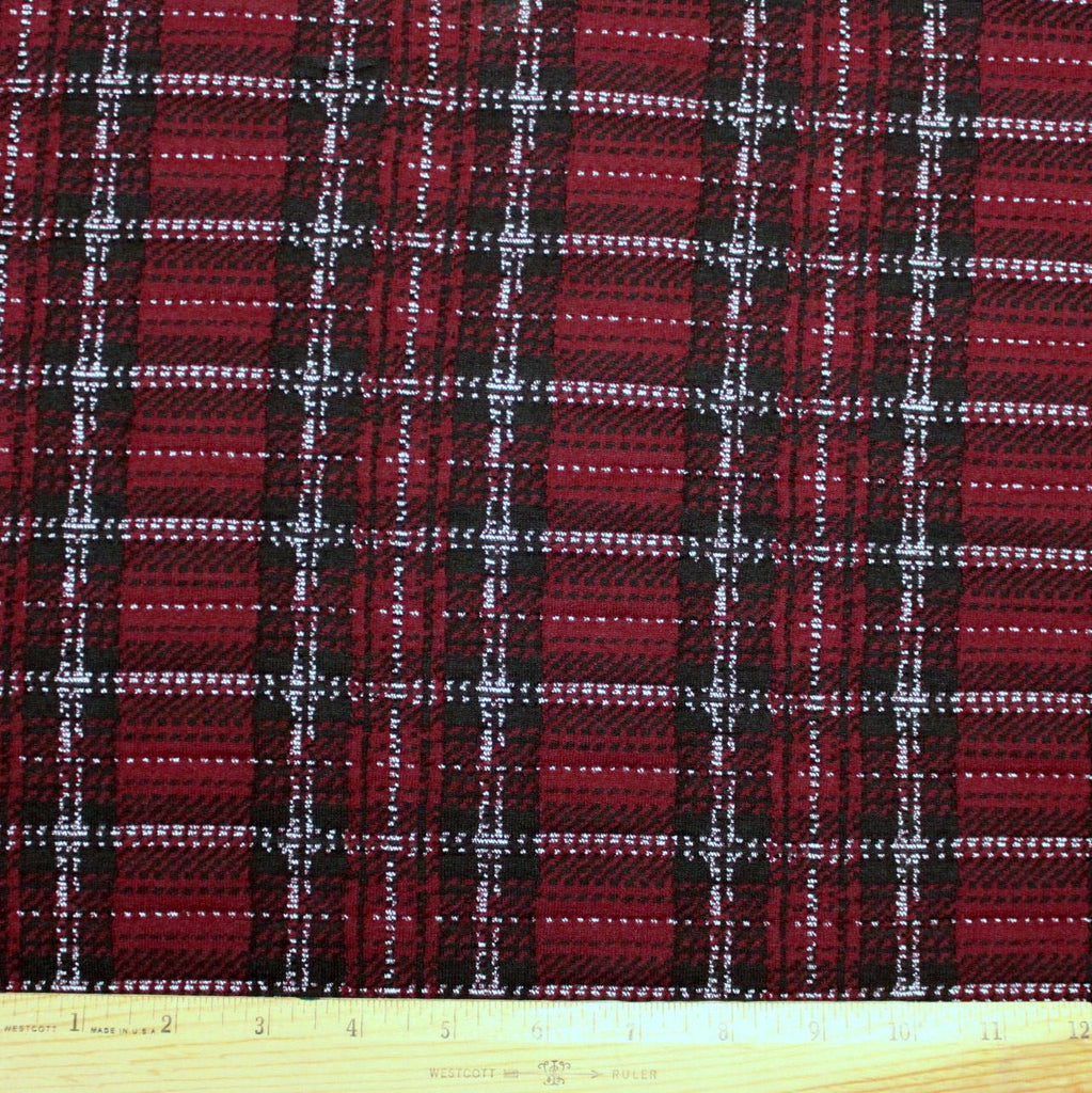 Burgundy Black and White Plaid Double Knit, 1 Yard