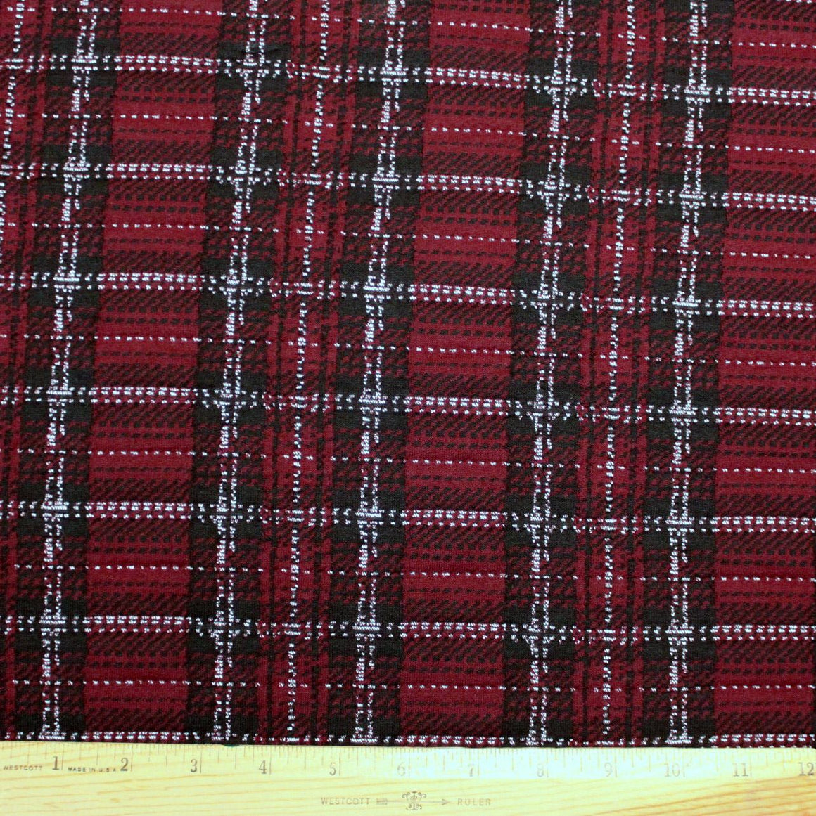Burgundy Black and White Plaid Double Knit, 1 Yard - Raspberry Creek Fabrics