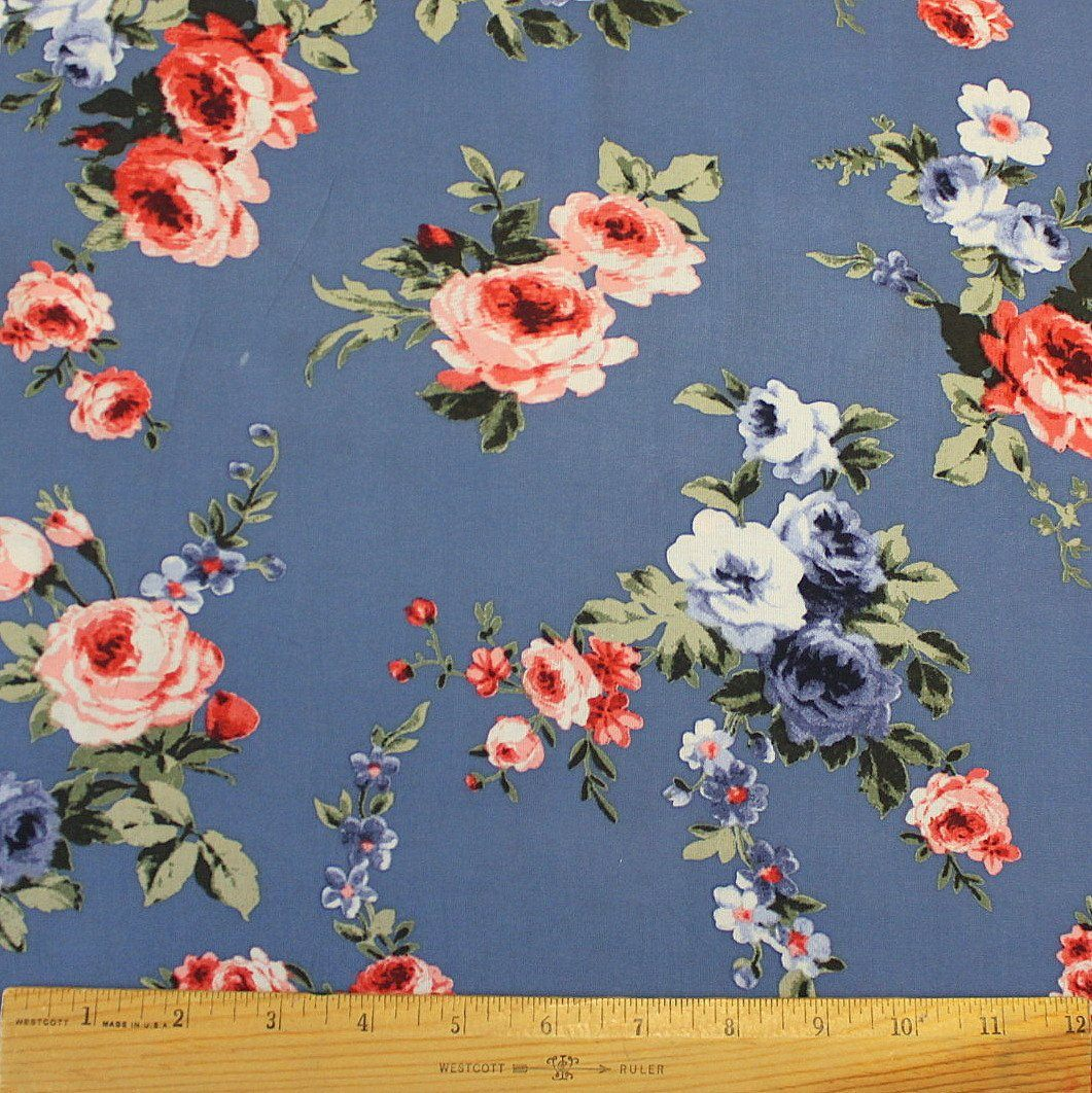 Blue Red Pink and Green Floral Rayon Challis, 1 yard