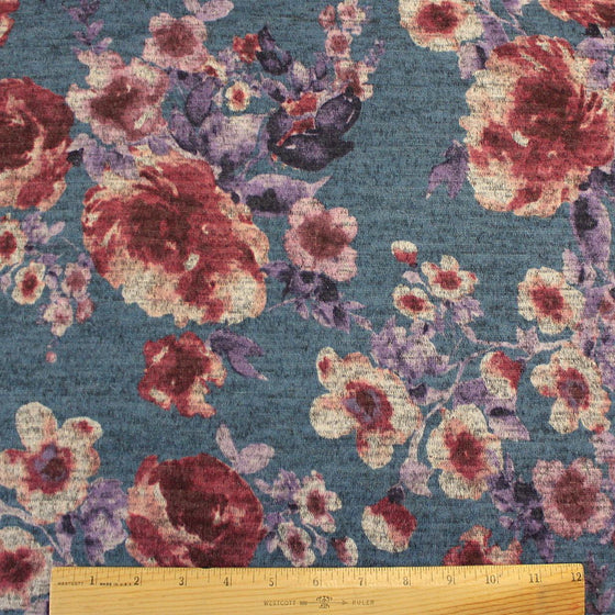 Blue Purple Burgundy and Grey Floral Brushed Heathered Hacci Sweater Knit Fabric, 1 Yard