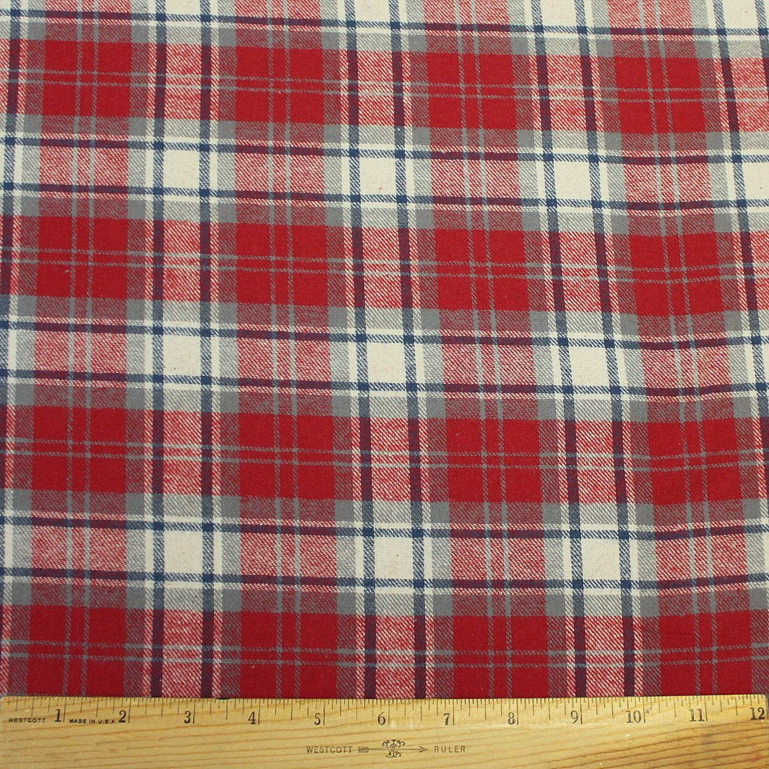 Red Grey and Blue Tartan Plaid Lightweight Woven Cotton Flannel Shirting, 1 Yard