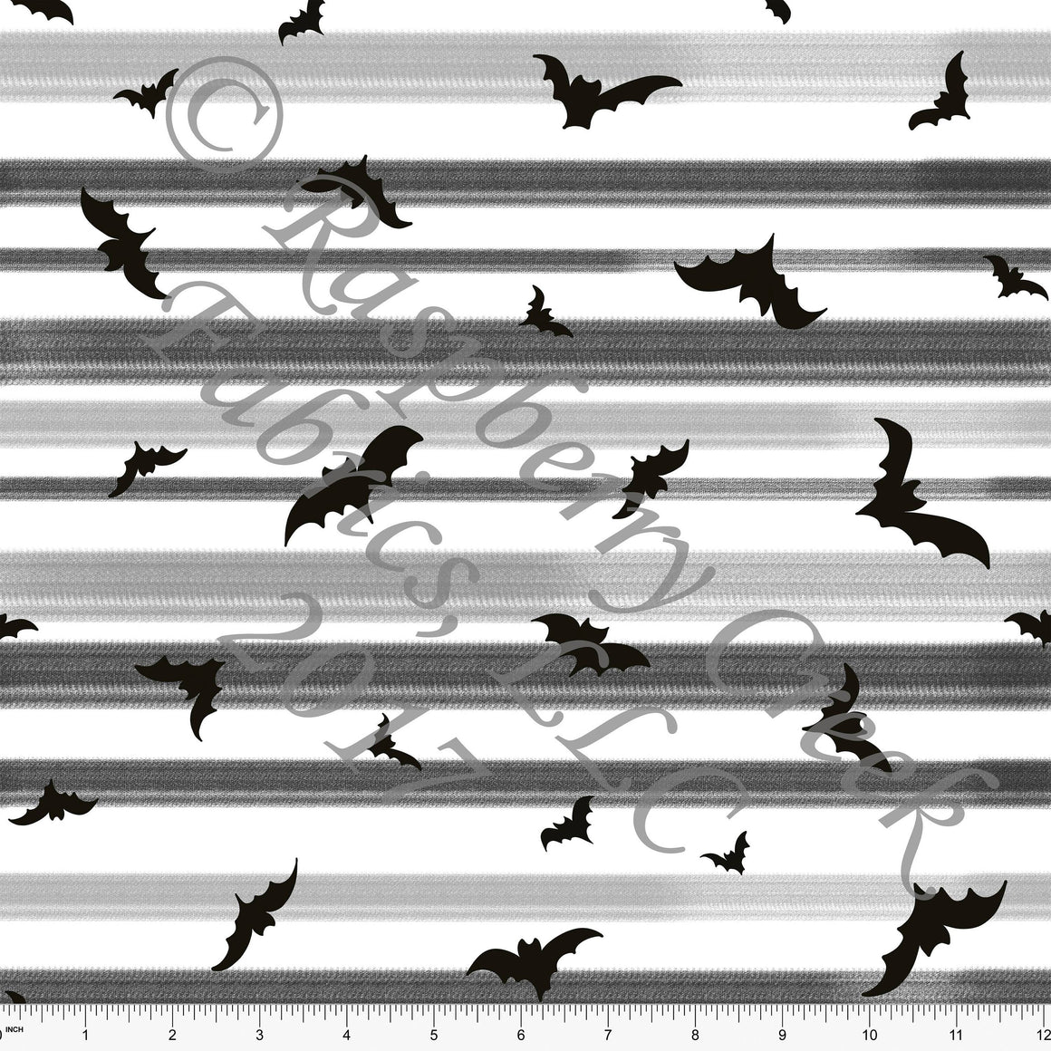 Black Grey and White Bat and Stripe Halloween Print, 4 Way Stretch Jersey Knit Fabric, By Emily Ferguson for Club Fabrics