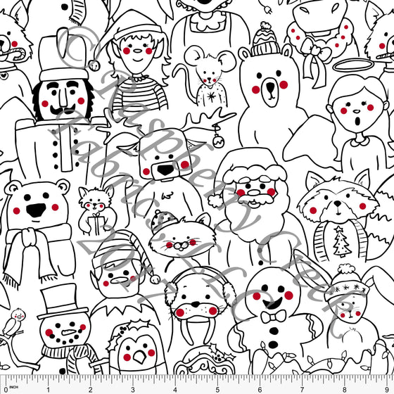 Black Red and White Christmas Characters, Kids Christmas by Emily Ferguson for CLUB Fabrics