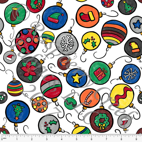 Multi Color Red Green Yellow and Blue Christmas Ornaments on 4 Way Stretch Jersey Knit, Kids Christmas by Emily Ferguson for CLUB Fabrics