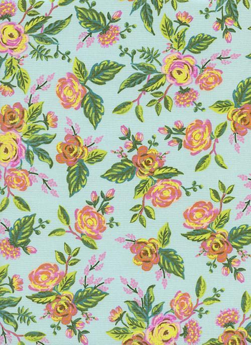 Aqua Green Pink and Yellow Floral Cotton, Menagerie By Rifle Paper Co for Cotton and Steel, Jardin De Paris Mint, 1 Yard