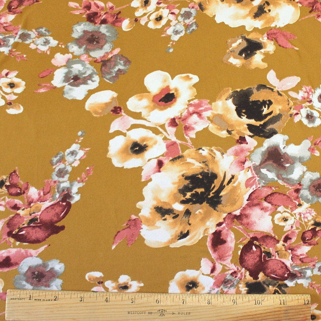 Mustard Grey Burgundy and Peach Floral Double Brushed Poly Spandex Knit, 1 yard