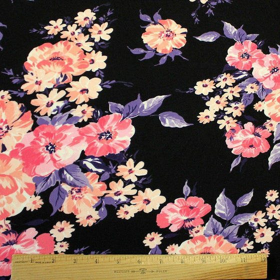 Black Purple Peach and Hot Pink Floral Double Brushed Poly Spandex Knit, 1 yard