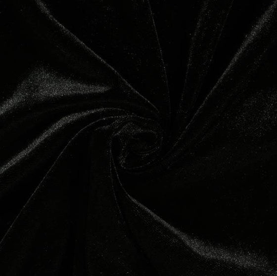 Black Stretch Velvet Knit, 1 yard - Raspberry Creek Fabrics
