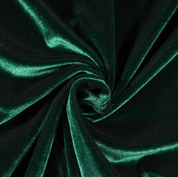 Emerald Green Stretch Velvet Knit, 1 yard - Raspberry Creek Fabrics