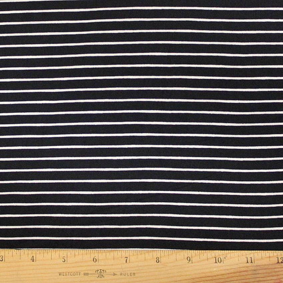 Black White Stripe Double Brushed Poly Spandex Knit, 1 yard