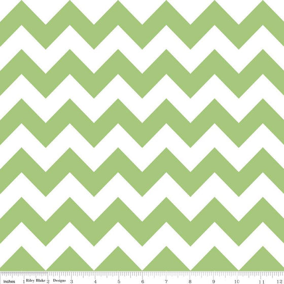 Green and White Chevron Cotton for Riley Blake, 1 Yard