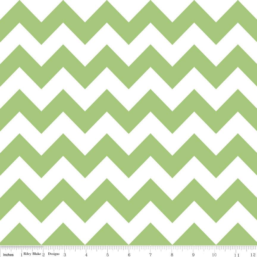 Green and White Chevron Cotton for Riley Blake, 1 Yard - Raspberry Creek Fabrics
