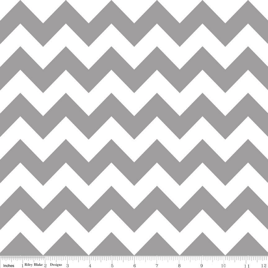 Grey and White Chevron Cotton for Riley Blake, 1 Yard - Raspberry Creek Fabrics