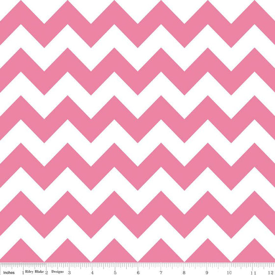Pink and White Chevron Cotton for Riley Blake, 1 Yard - Raspberry Creek Fabrics
