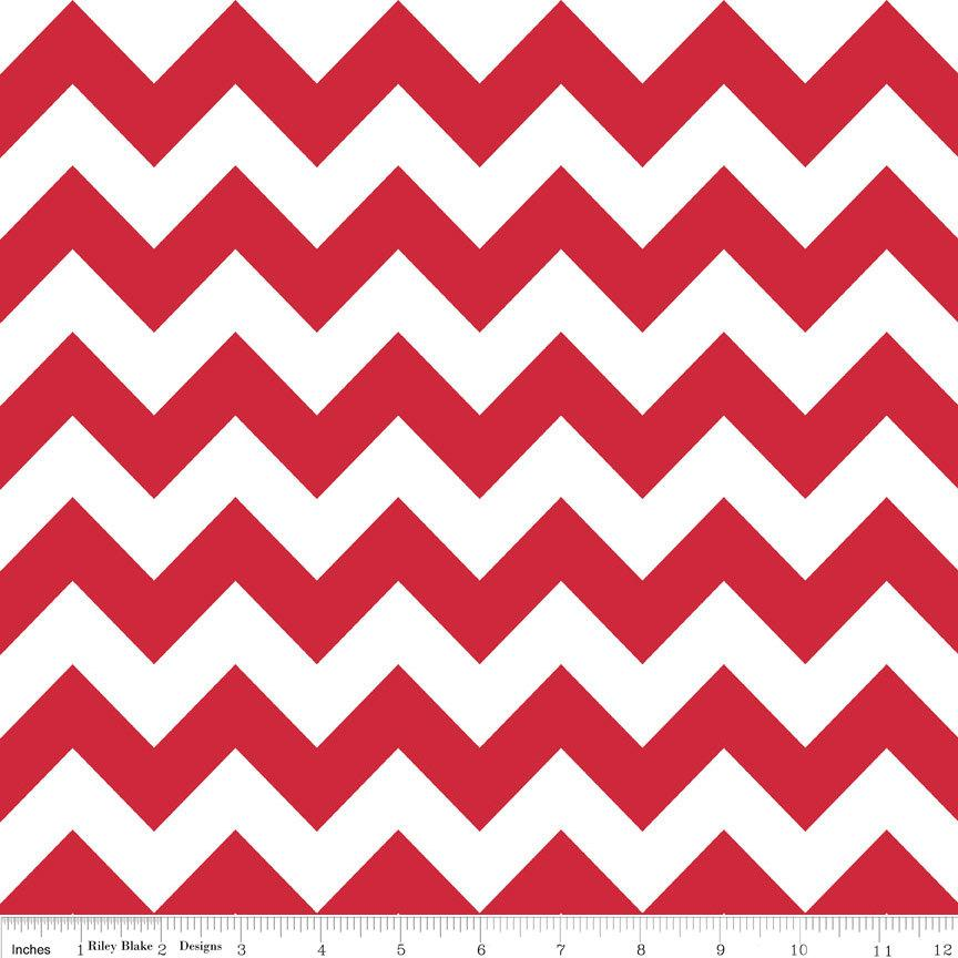 Red and White Chevron Cotton for Riley Blake, 1 Yard