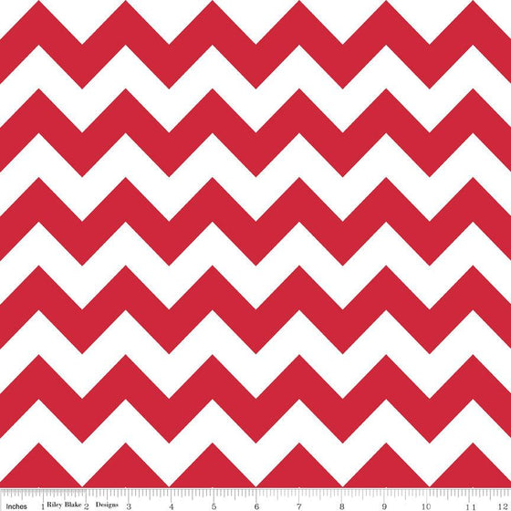Red and White Chevron Cotton for Riley Blake, 1 Yard - Raspberry Creek Fabrics