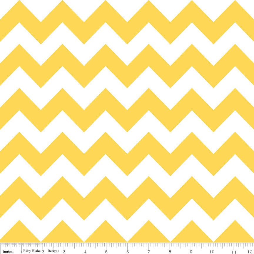 Yellow and White Chevron Cotton for Riley Blake, 1 Yard - Raspberry Creek Fabrics