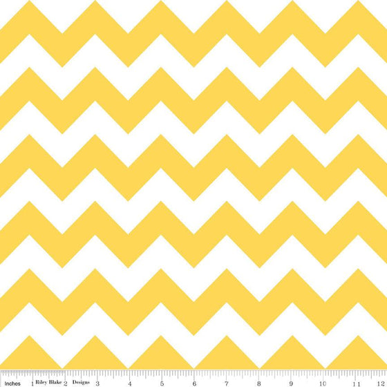 Yellow and White Chevron Cotton for Riley Blake, 1 Yard