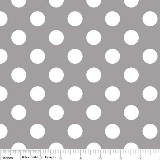 Gray and White Medium Polka Dot Cotton For Riley Blake, 1 Yard - Raspberry Creek Fabrics