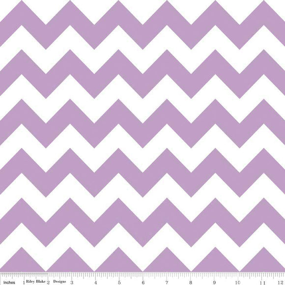Lavender and White Chevron Cotton for Riley Blake, 1 Yard - Raspberry Creek Fabrics