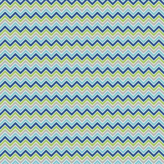 Navy Green Grey Aqua and White Chevron Flannel, 1 Yard