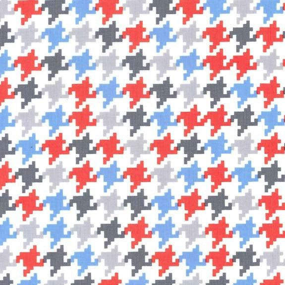Blue Grey Red and White Everyday Houndstooth Fabric for Michael Miller, Everyday Houndstooth in Ozone, 1 Yard - Raspberry Creek Fabrics