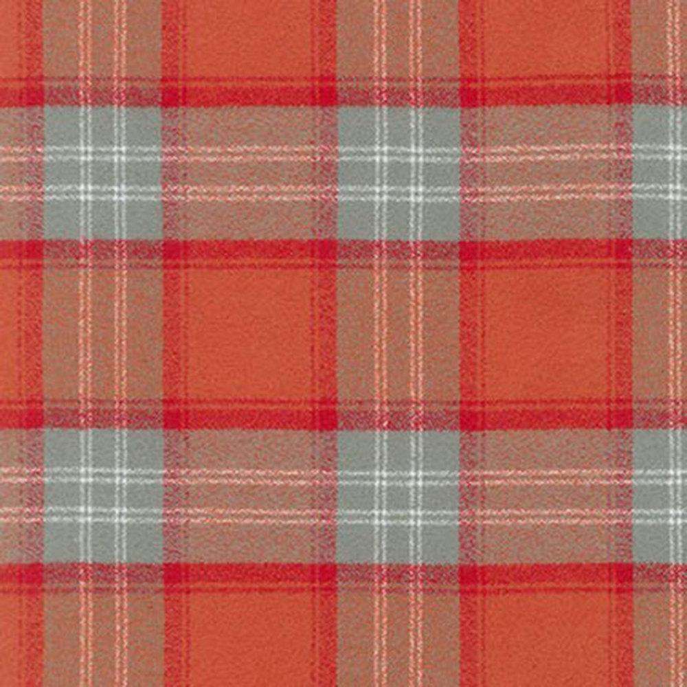 Rust Red and Grey Orange Spice Mammoth Plaid Flannel By Robert Kaufman, 1 Yard