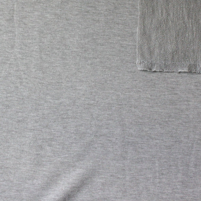 Solid Light Heather Grey 4 Way Stretch French Terry Knit Fabric With Spandex, 1 Yard