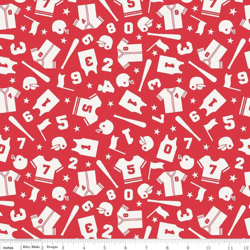 Red and White Sports Uniform Fabric, Play Ball by Lori Whitlock for Riley Blake Design, Uniform Print in Red, 1 Yard