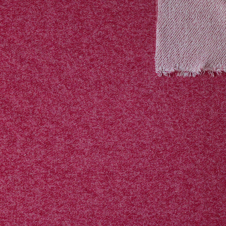 Merlot Red Heathered French Terry Knit Sweatshirt Fabric, 1 Yard