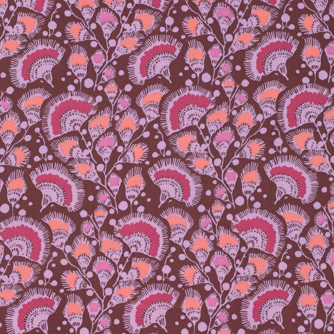 Purple Coral and Plum Feather Fans Cotton Fabric, Bright Heart By Amy Butler for Free Spirit, Feather Fans in Plum, 1 yard