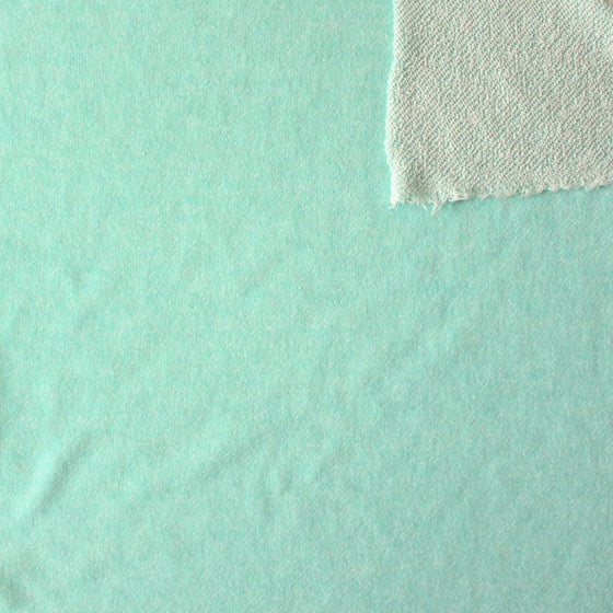 Mint Green Heathered French Terry Knit Sweatshirt Fabric, 1 Yard - Raspberry Creek Fabrics