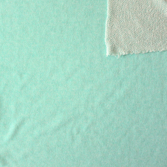 Mint Green Heathered French Terry Knit Sweatshirt Fabric - Raspberry Creek Fabrics