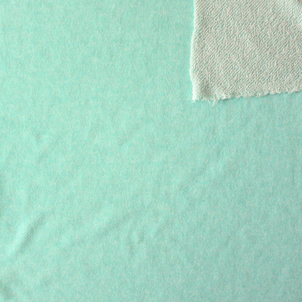 Mint Green Heathered French Terry Knit Sweatshirt Fabric, 1 Yard