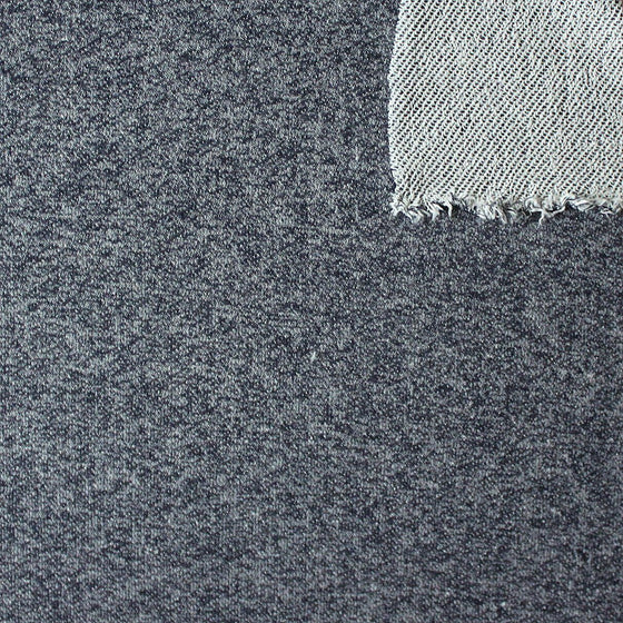 Navy Blue Heathered French Terry Knit Sweatshirt Fabric, 1 Yard PRE-ORDER - Raspberry Creek Fabrics